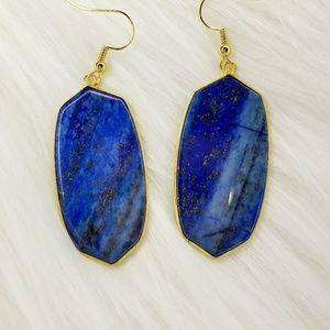 Lapis Lazuli Oval Drop Earrings Gold Tone